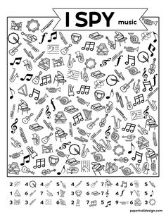 Elementary Music, Elementary Schools, Music Activities, Activities For Kids, I Spy Games, Music Symbols, Music Worksheets, Hidden Pictures, Perception