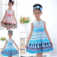 Kids Girls Dress cute peacock color sleeveless princess dress circle Korean Fashion Blue children's clothing New #>=#>=#>=#>=#> Click on the pin to check out discount price, color, size, shipping, etc. Save and like it!