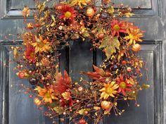 Fall Wreath  Fall Floral & Berry Wreath  by Designawreath on Etsy, $54.95