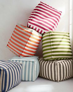 This all-weather striped pouf is a comfy (and colorful) seating option for outdoor areas and high-traffic indoor rooms — think kids' room or playroom!