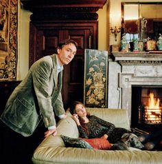 David and Rose, the 7th Marquess and Marchioness of Cholmondeley, and their whippet Benji at Houghton Hall