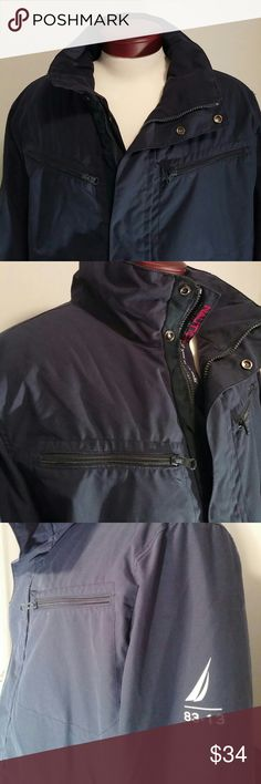 Mens Nautica navy blue jacket Really nice men's navy blue Nautica jacket. Lined on the in side with a small layer of worms. Very nice condition! size extra large. Nautica Jackets & Coats