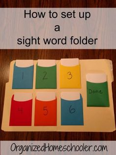 Find out how to set up a sight word folder. This is the best way to teach sight words. It will help your child master sight words. Teaching Sight Words, Sight Word Practice, Sight Word Activities, Listening Activities, Pre K Sight Words, Sight Word Readers, Pre Reading Activities, Sight Word Flashcards, Fluency Practice