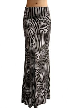 e9c1a1760 Animal Print Striped Full Length Banded Waist Foldover Maxi Skirt (Str – Niobe  Clothing Printed
