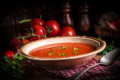 Rustic tomato soup by Darius Dzinnik Tomato Soup, Salsa, Mexican, Rustic, Ethnic Recipes, Food, Country Primitive, Essen, Retro