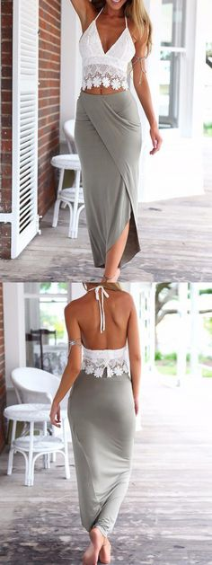 White Halter Lace Crop Top And Gray Wrap Asymmetric Skirt
