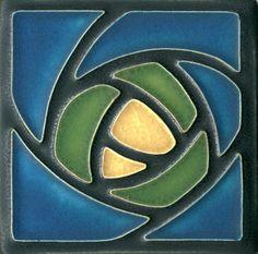 4x4 Dard Hunter Rose in Blue by Motawi Tileworks