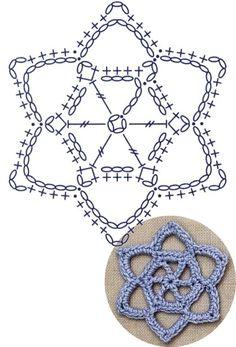 No.19 Star of David Lace Crochet Motifs / 별 모양 모티브도안