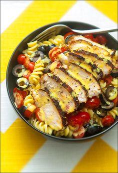 Dan's blackened-chicken pasta salad.