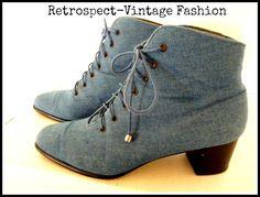 Vintage ROSS HANDMOND Denim Jean platform tie up boots, from RETROSPECT-Vintage Fashion. Perfect for fall!
