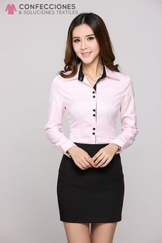 Camisas formales para mujeres Camisas para mujer manga larga, corta - Confecciones cstradha, RD Sexy Outfits, Girly Outfits, Skirt Outfits, Office Fashion, Business Fashion, Casual Chic, Scrubs Outfit, Suits For Women, Clothes For Women