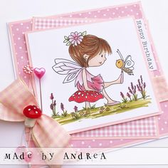 LOTV - Fairy Butterfly by Andrea Gourley Lily Of The Valley, Stamp Sets, A5, Fairies, Projects To Try, Coloring, Card Making, Happy Birthday, Butterfly