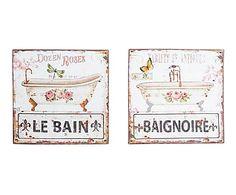 Set di 2 quadri decorativi in metallo multicolor Bill, 30x30x2 cm