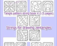 Tangle pattern string book pages), strings for drawing zentangles, digital PDF book printable. Zentangle Drawings, Zentangle Patterns, Zentangles, Printable Coloring Pages, Colouring Pages, String Art Templates, Step By Step Drawing, Tangled, Stencils