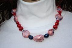 Ketten kurz - Kette symmetrisch in rot rosa blau Herz - ein Designerstück von trixies-zauberhafte-Welten bei DaWanda