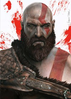 Desenho realista do Kratos do game God of War. YouTube: Jaque Vital