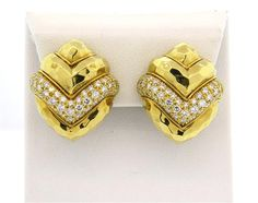 18k Hammered Gold 2.50ctw Diamond Earrings
