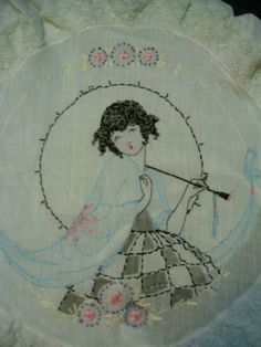 Vintage Tinted Embroidered Parasol Flapper Girl Doll Boudoir Pillow 1920's | eBay
