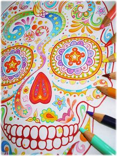 These Sugar Skull Coloring Pages offer hours of coloring fun for any Day of the Dead enthusiast! This printable coloring book features 21 pages of detailed sugar skulls inspired by Dia de Muertos that you can print and color as many times as you want. Skull Coloring Pages, Coloring Pages To Print, Colouring Pages, Coloring Books, Sugar Skull Design, Sugar Skull Art, Sugar Skulls, Painting & Drawing, Day Of The Dead Art