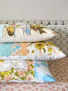cute vintage fabric pillows