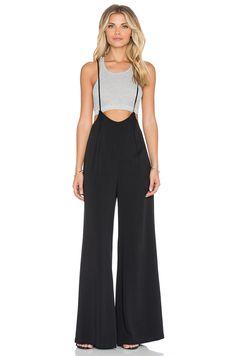 Lucca Couture Wide-Leg Suspender Jumpsuit in Black