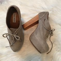 """Steve madden gray booties Adorable 5.25"""" heel and thick 1.25"""" hidden platform. Pre-loved. Wear to laces and throughout. Offers welcome through offer tab. No trades. As seen on lucy hale from PLL. Steve Madden Shoes Ankle Boots & Booties"""