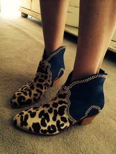 Leopard Studded boots #studded boots by Miki & Choya