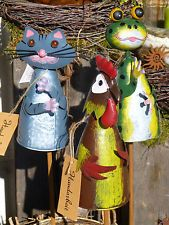 Zaunhocker Beetstecker Figur Frosch Dekoration Zaun Garten Terrasse Beet Vogel