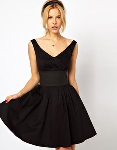 ASOS Skater Dress With Off Shoulder And Deep Waistband at ShopStyle
