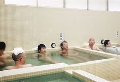 The insides of the heated baths are made from Towada stone, which looks blue-green when it's wet. Deprivation Tank, Sensory Deprivation, Tokyo Architecture, Japanese Architecture, Mont Fuji, Capsule Hotel, Boundary Walls, Tokyo Hotels, Traditional Fabric