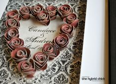 Shadow Box - paper rosettes - need to make one for our bedroom with wedding anniversary date!