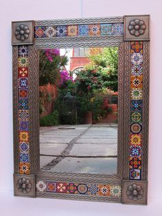 Mexican decor: Mexican talavera (art tile) mirror.