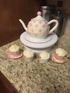 Tea pot cake & tea cup cupcakes