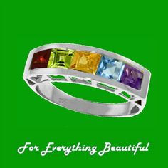 Rainbow Gems Square Cut Bar Arched 14K White Gold Ring Gorgeous!! at For Everything Beautiful
