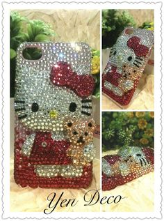 Hello Kitty With Bear 3D Bling Bling Crystal iPhone by yendeco, $79.00