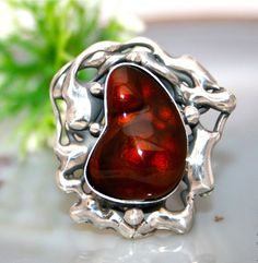 Your place to buy and sell all things handmade Agate Ring, Jewelry Boards, Sterling Silver Jewelry, How To Find Out, Gemstone Rings, Brooch, Fire, Jewellery, Awesome