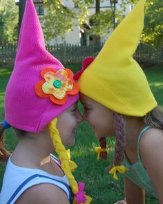 Girly Girls Gnome Hats by MysticMoor. I like the flowers on these Gnome Costume, Girl Gnome, Gnome Hat, Twin Costumes, Adult Costumes, Silly Hats, Family Fun Night, Garden Birthday, Carnival