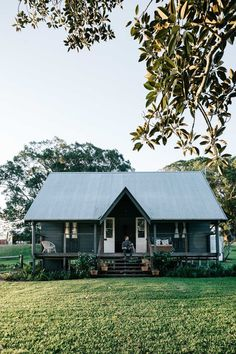 Take out the walls and have it as a picnic house/ folly in the paddock, away from the main house. Australian country cottage, dark grey with huge fig tree. Melbourne interior photographer, Marnie Hawson for Country Style and Fork & Farrow, Nashua NSW Farm Cottage, Cottage Homes, Cottage Style, Country Cottage Decorating, Farm House, Country House Interior, Cottage Design, Australian Country Houses, Australian Homes
