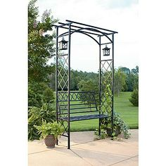 Garden Oasis Lattice Arbor with Bench and Two Lanterns - Kmart