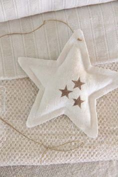 they could sew felt ornaments with big blunt needle and fun colored yarn. Mittens, trees, stars etc(Diy Ornaments Cinnamon) Felt Christmas Ornaments, Noel Christmas, Homemade Christmas, Christmas Decorations, White Christmas, Felt Crafts, Holiday Crafts, Christmas Sewing, Star Ornament