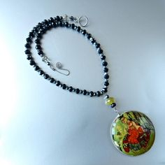 Unique Russian Hand Painted Vintage Cameo on Stone, Girl with Treasure Chest Genuine Black Onyx and Hematite Stone Beads Necklace by prettyinprague on Etsy