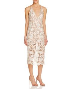 Dress the Population Marie V-Neck Lace Slip Dress | Bloomingdale's.  Imagine it with a wonderful dress coat.