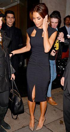 Nicole Scherzinger wearing The Pretty Dress Company the Cut-Out Black Dress