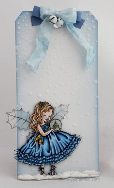 blue tag for Christmas. Mo Manning image colored with Copics.