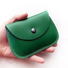 Handmade leather coin, cards, small purse, MINNIE Purse by Fairysteps. Emerald