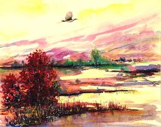 Landscape painting Original painting Watercolor painting stork