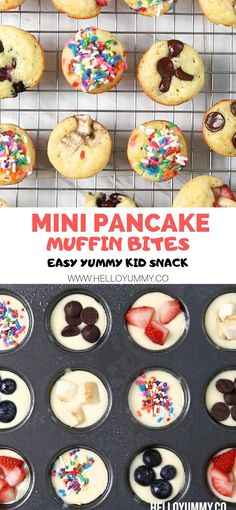 These mini pancake muffins make an easy healthy snack for kids or breakfast. Use These mini pancake muffins make an easy healthy snack for kids or breakfast. Use your favorite toppings. Great for a lunchbox treat too! Source by twocametrue Mini Pancakes, Mini Muffins, Pancakes Kids, Yogurt Pancakes, Blueberry Pancakes, Office Food, Snacks Saludables, Easy Snacks, Snacks Kids