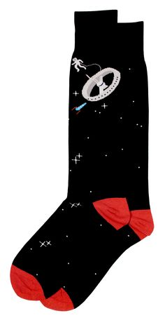 Rocket through any workaday atmosphere with the Soxfords' Kessler Syndrome! Space-themed black cotton dress socks featuring a space-walking astronaut orbiting his space station. #Soxfords #Socks #Style