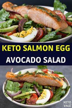 Keto Salmon Egg Avocado Salad low carb recipe via Keto Vale - Ketogenic Diet Recipes - - Keto Salmon, Fried Salmon, Salmon Avocado, Avocado Salat, Salmon Salad, Salmon Recipes, Seafood Recipes, Chicken Recipes, Keto Chicken
