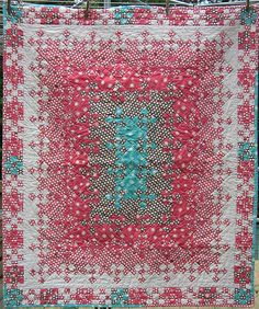 """Blooming nine patch at """"Hip to be a square"""", using extra nine patches as the border"""
